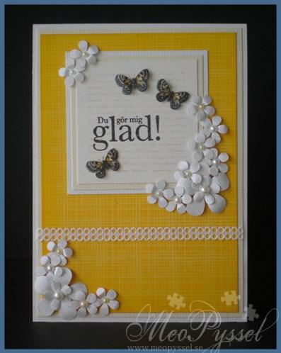 Kort med blommor och fjärilar Image
