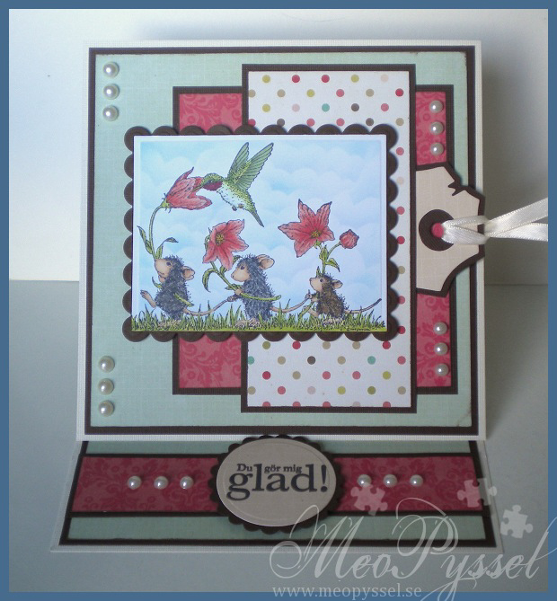 Blommigt kort med möss Image